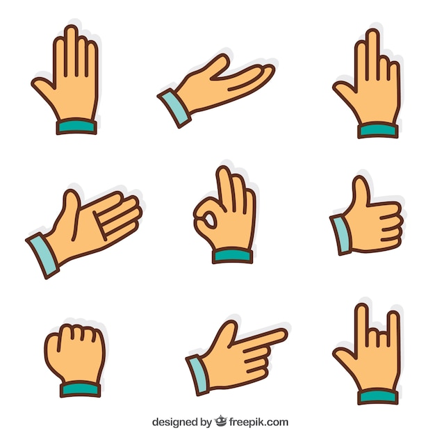 Flat Sign Language Icons Set Free Vector