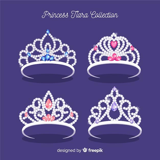 Flat silver princess tiara collection Free Vector