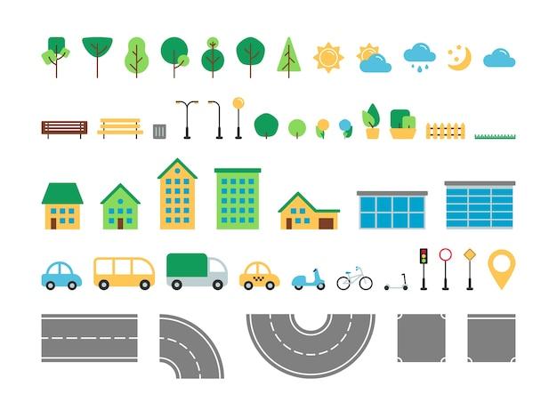 Плоский простой город городской набор векторных элементов. коллекция конструкторов уличного и паркового декора. дерево, погода, дорога, дом, транспорт, дорожный знак, изолированные для веб-иконок, мобильного приложения, инфографики. Premium векторы