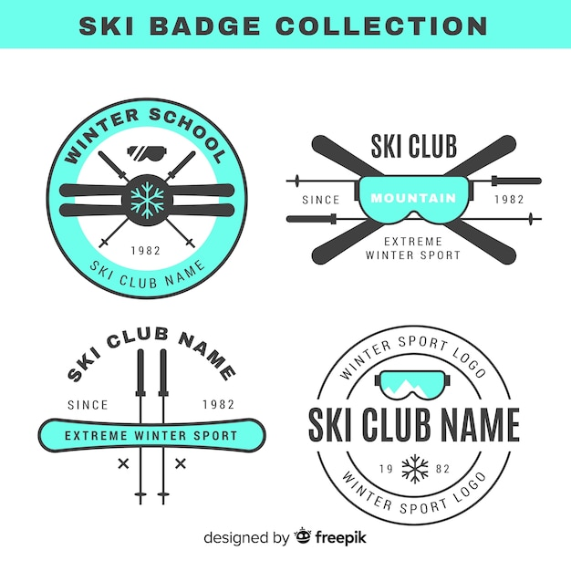 Flat ski and snow badge collection Premium Vector