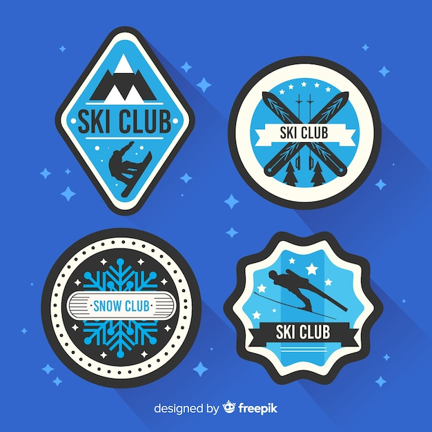 Flat ski and snow badge collection Free Vector