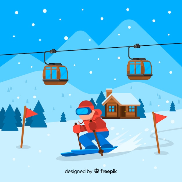 Flat ski station Free Vector
