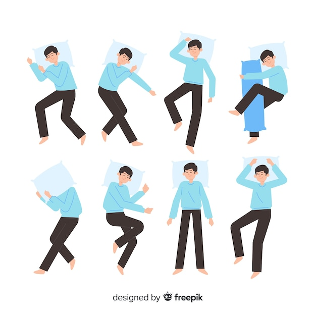 Flat sleep positions collection Free Vector