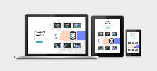 현대 스마트 워치와 평면 스마트 시계 다채로운 개념 손 차트 그래프 다이어그램 적응 무료 벡터