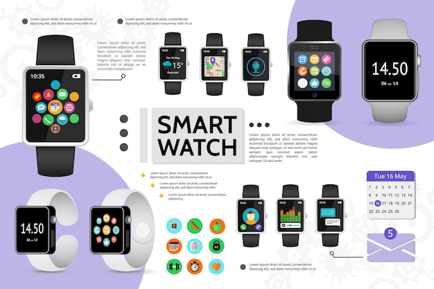 Flat smart watch elements composition with fitness music chat call calendar weather navigation map Free Vector