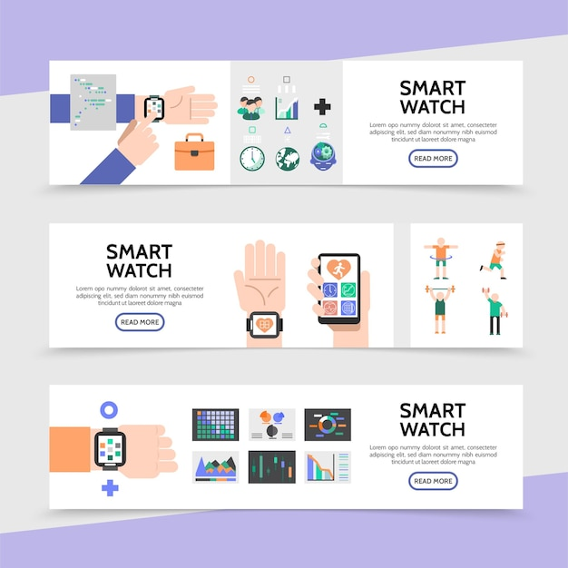 Flat smart watch horizontal banners with smartwatch on hands colorful buttons fitness application sport Free Vector