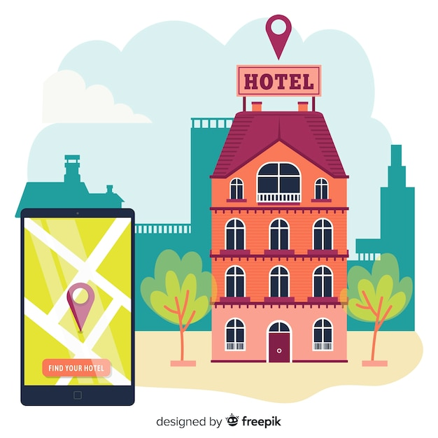 Flat smartphone hotel booking background Free Vector
