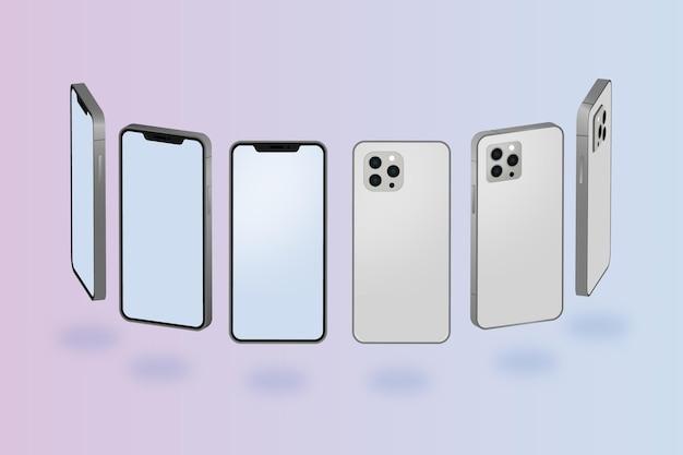 Плоский смартфон в разных ракурсах Бесплатные векторы