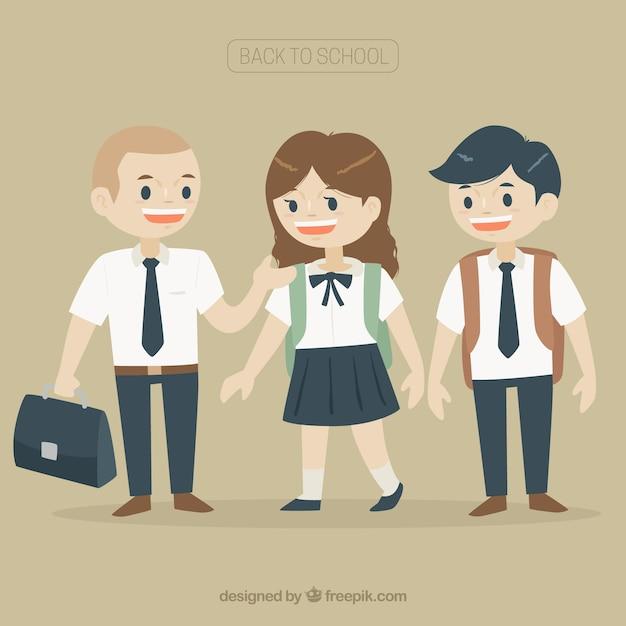 Flat smiley students wearing uniform Free Vector