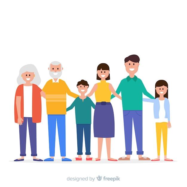 평평한 웃는 가족 초상화 무료 벡터