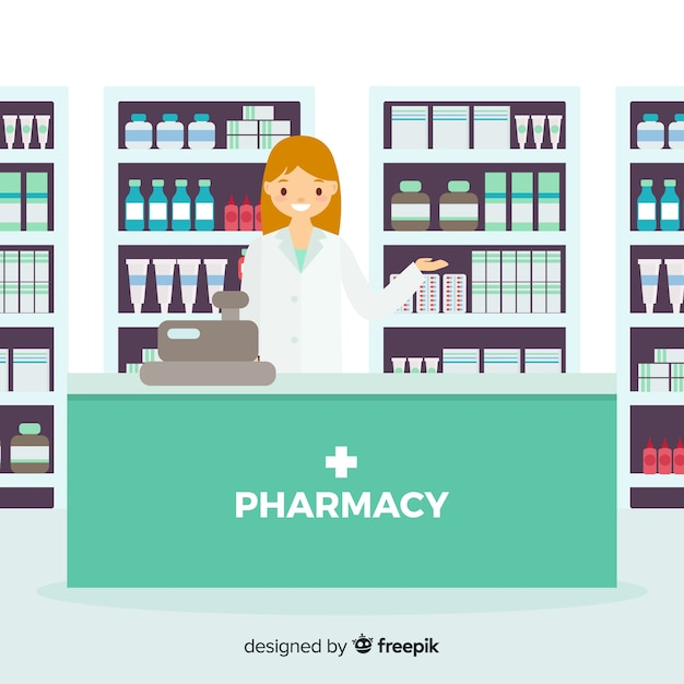 Flat smiling pharmacist simple background Free Vector