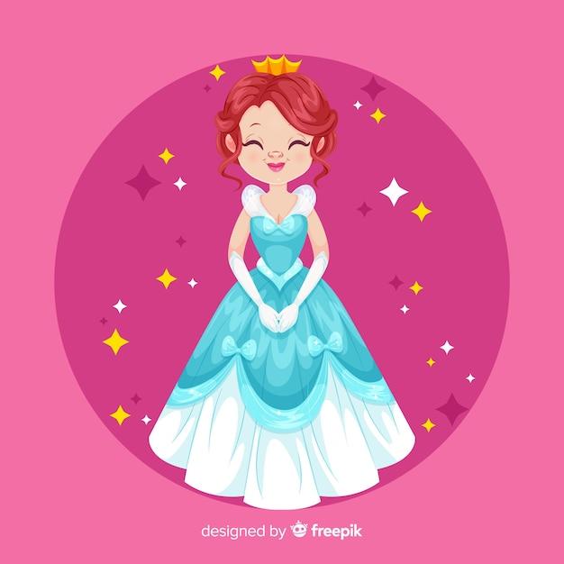 Flat smiling princess portrait Free Vector