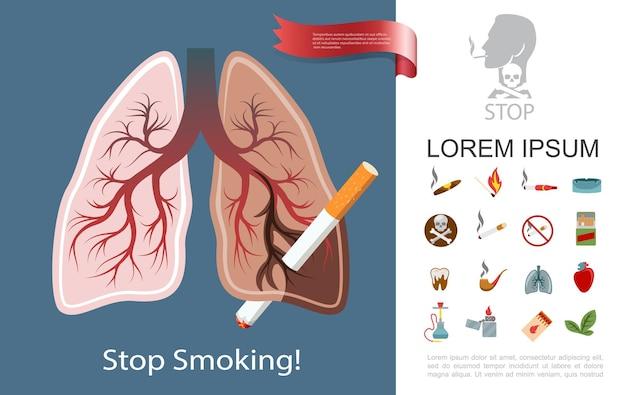 La composizione piana di dipendenza dal fumo con il portacenere del tubo del sigaro delle sigarette dei polmoni del fumatore abbina l'illustrazione del dente del cuore malato più leggero del tabacco del narghilè Vettore gratuito
