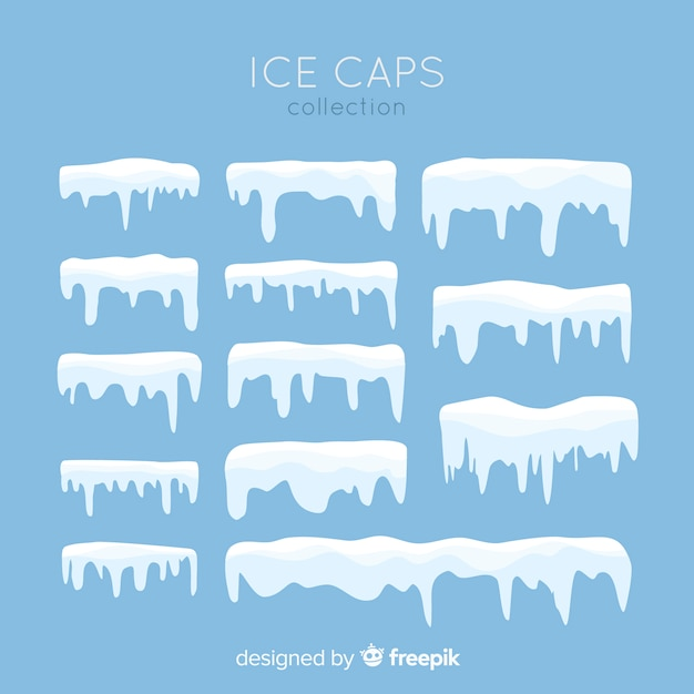 Коллекция плоских снежных шапок Бесплатные векторы