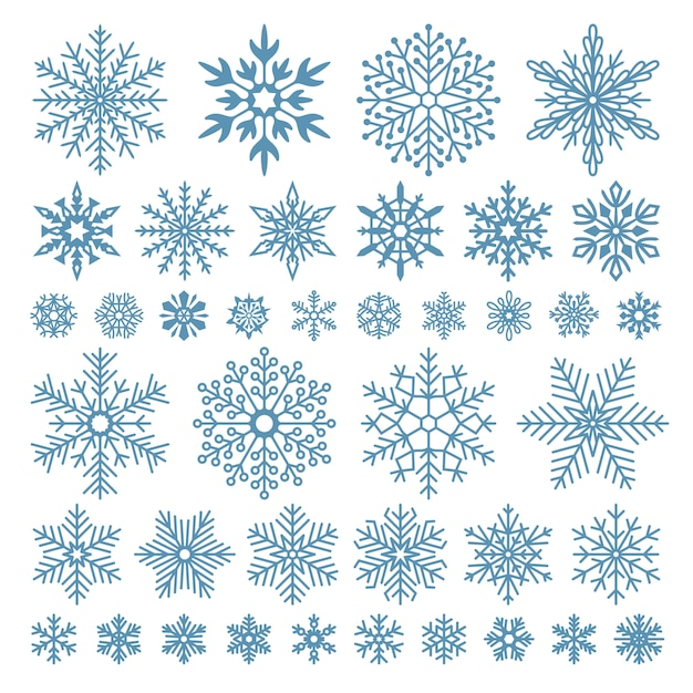 Flat snowflakes. winter snowflake crystals, christmas snow shapes and frosted cool Premium Vector