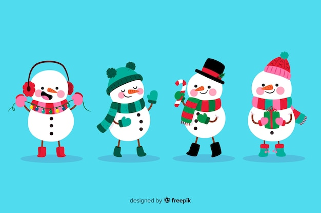 Flat snowman character collection Free Vector