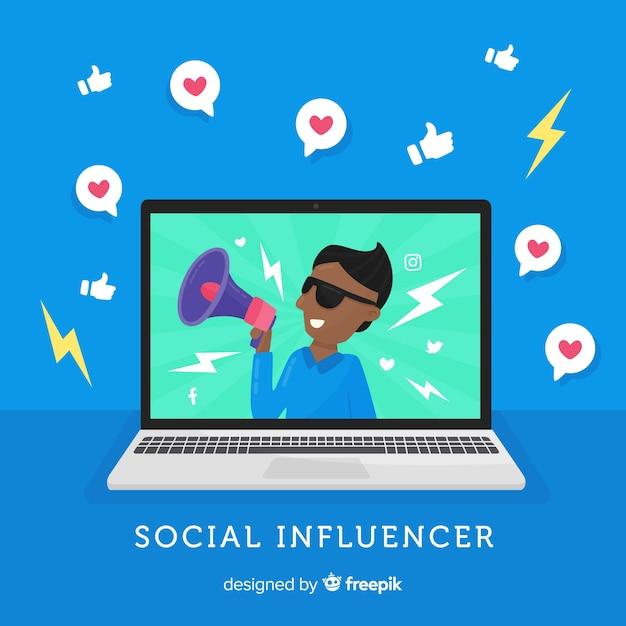 Flat social influencer Free Vector