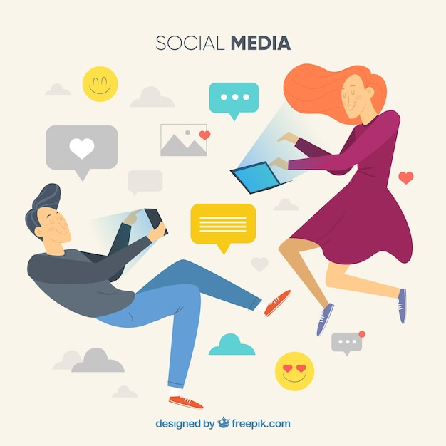 Flat social media background with characters Free Vector