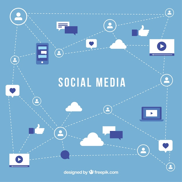Flat social media background with variety of icons Free Vector