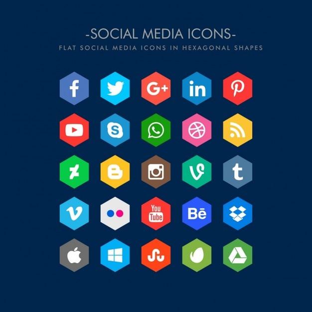 آیکون های رسانه های اجتماعی تخت در شکل شش ضلعی