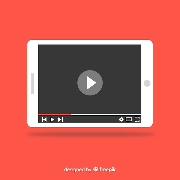 Flat social media multimedia player template Free Vector