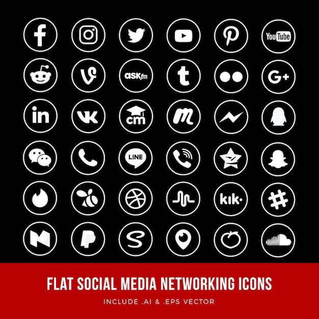 Flat social media networking icons vector Premium Vector