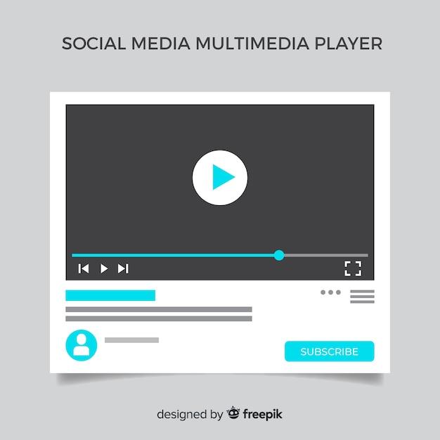 Шаблон мультимедийного проигрывателя flat social media Бесплатные векторы