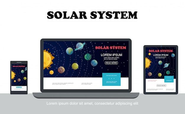 分離されたモバイルラップトップタブレット画面の解像度に適応可能な太陽惑星星とフラットソーラーシステムのカラフルなコンセプト 無料ベクター