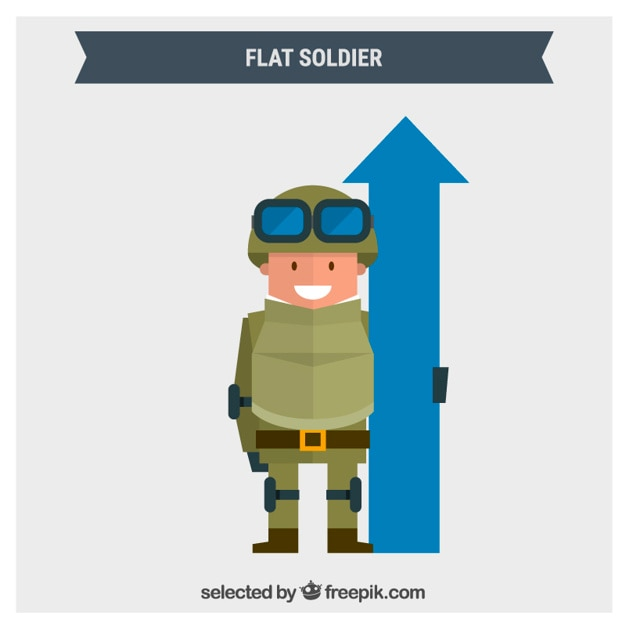 Flat soldier with a blue arrow Free Vector