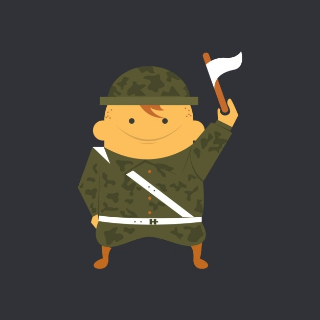 Flat Soldier with White Flag Free Vector