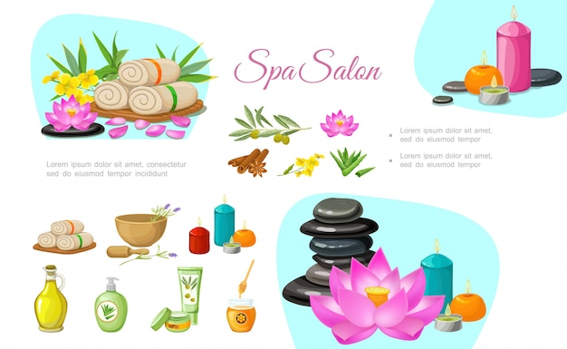 Flat spa salon composition with stones aroma candles towels olive branch natural oil cream lotus flower bamboo cinnamon sticks aloe vera Free Vector