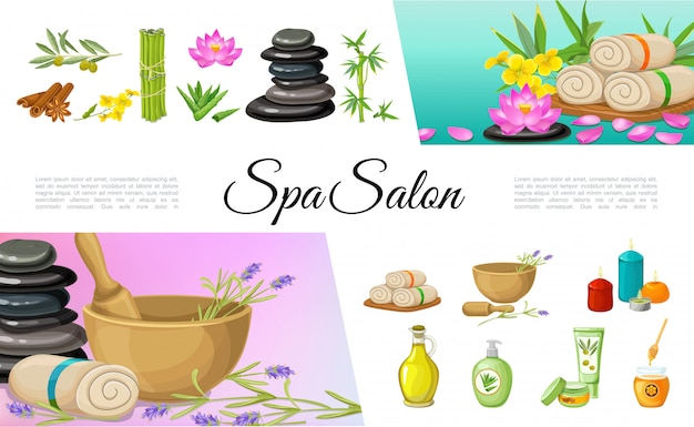 Flat spa salon elements collection with cinnamon sticks olive oil cream stones bamboo lotus flower towels aloe vera aroma candles honey Premium Vector