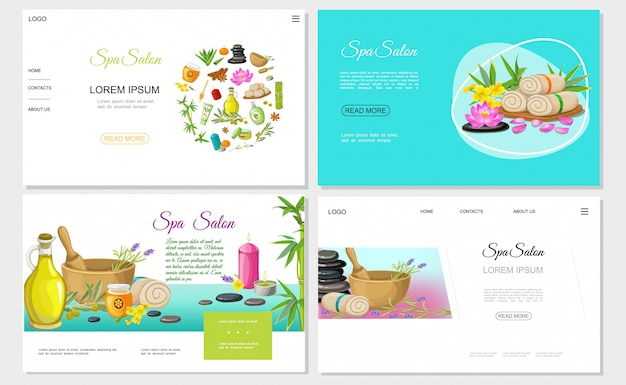 Flat spa salon websites set with honey flowers natural olive oil towels herbs in mortar aroma candles stones creams bamboo Free Vector