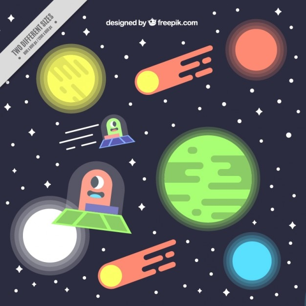 Flat Space Background With Ufos Vector