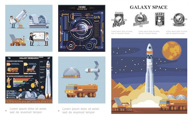 Composizione colorata nello spazio piatto con lancio di razzi luna rover e camion satelliti scienziati interfaccia futuristica galassia ricerca infografica marte etichette esplorazione Vettore gratuito