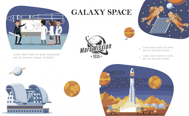 Flat space composition with scientists astronauts in outer space planetarium planets moon rover and rocket launch Free Vector