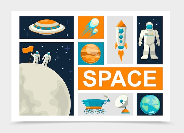 Flat space elements set with astronauts standing on moon surface rocket comets earth and mars planets ufo satellite lunar rover cosmonaut isolated Free Vector