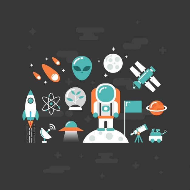 Flat space elements Free Vector