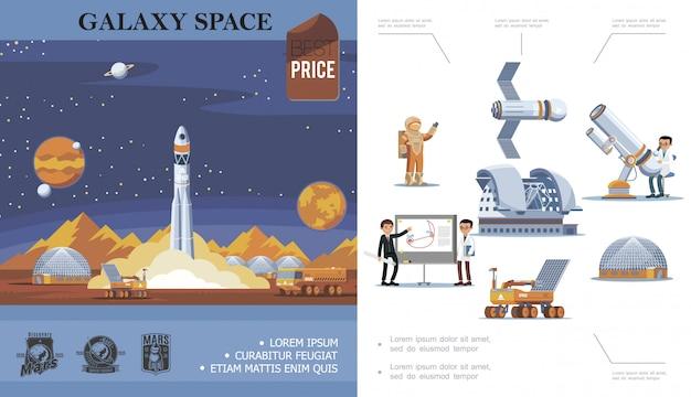 Composizione di esplorazione dello spazio piatto con lancio di razzi cosmonauti satellite scienziati telescopio telescopio planetario moon rover mars etichette di scoperta Vettore gratuito