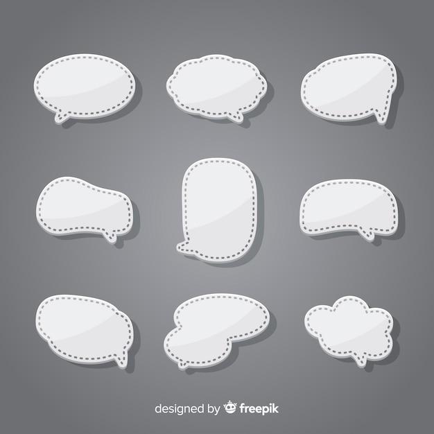 Коллекция плоских речи пузырь в стиле бумаги Бесплатные векторы