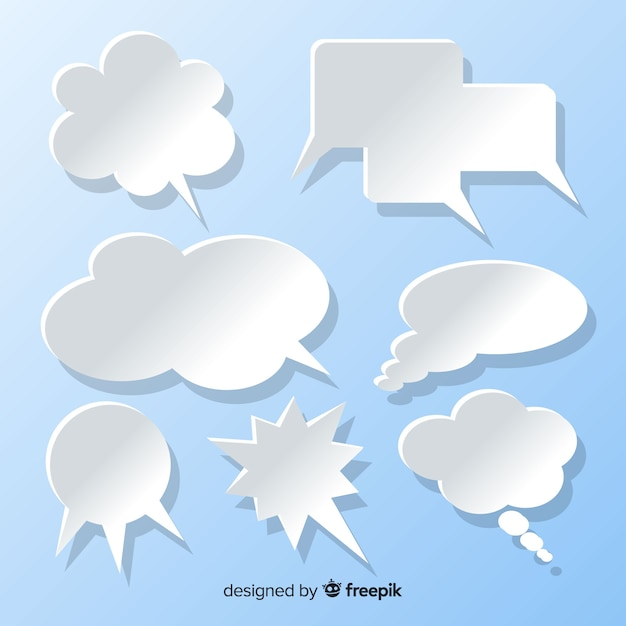 Flat speech bubble collection in paper style blue background Free Vector