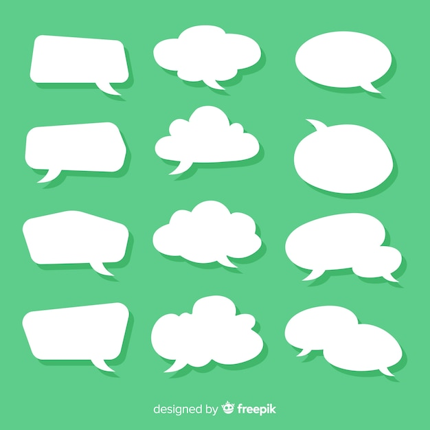 Flat speech bubble collection in paper style green background Free Vector