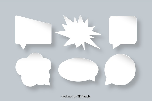 Flat speech bubble collection paper style Free Vector