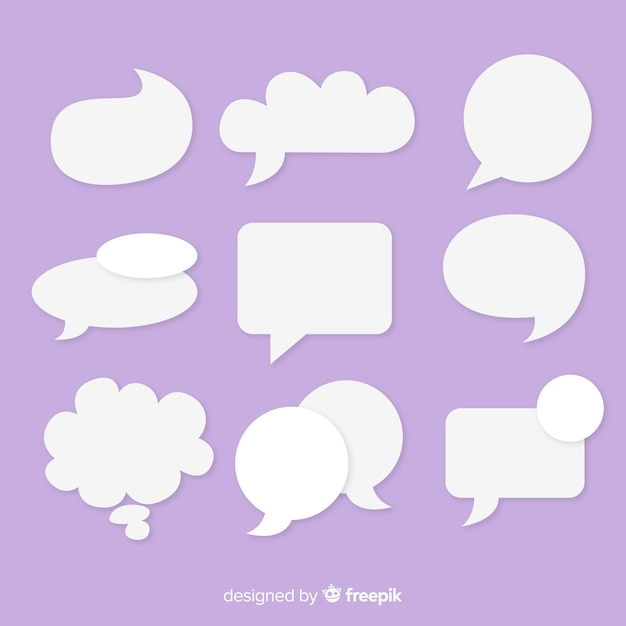 Flat speech bubble collection in paper style Free Vector