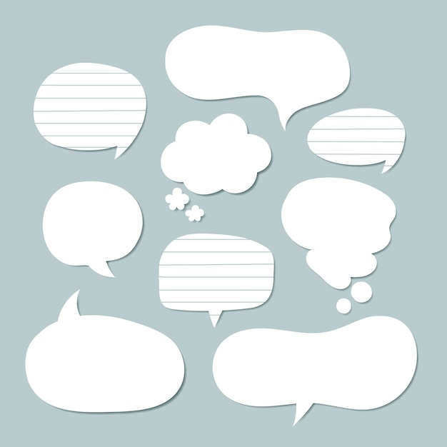 Flat speech bubble collection in paper style Premium Vector
