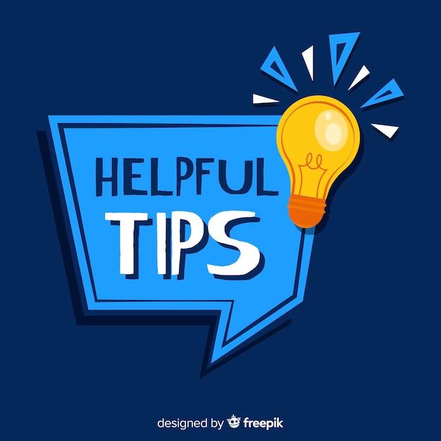 Flat speech bubble helpful tips background Free Vector