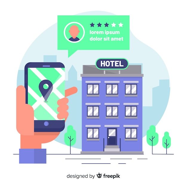 Flat speech bubble hotel booking background Free Vector