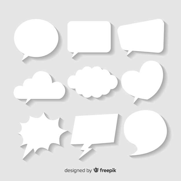 Flat speech bubble in paper style Vector | Free Download