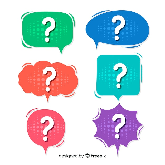 Flat speech bubble with question mark Free Vector