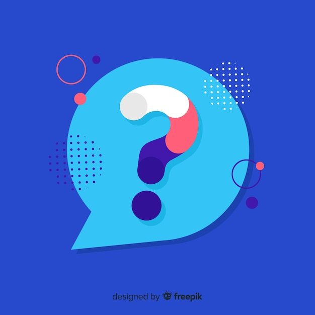 Flat speech bubble with question marks Free Vector